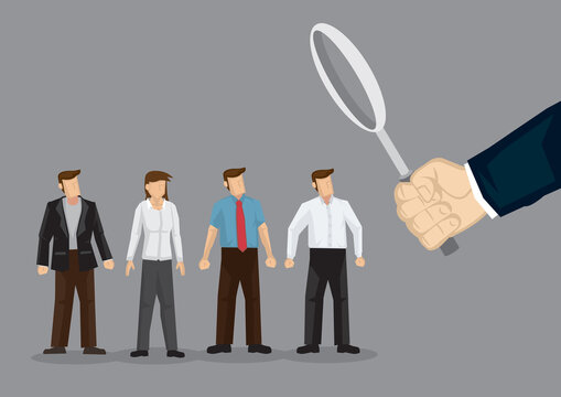 Illustration of a giant hand looking at business people.