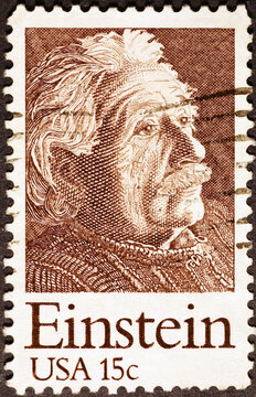 Albert Einstein on US postage stamp