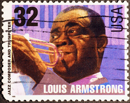 Louis Armstrong on american postage stamp