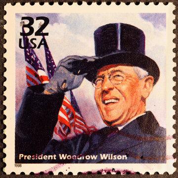 President Woodrow Wilson on US postage stamp