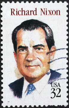 Richard Nixon on american postage stamp