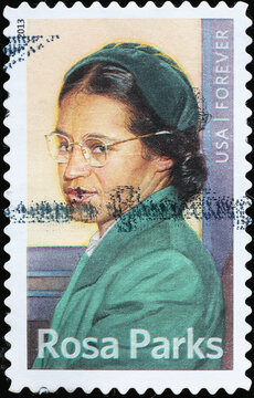 Rosa Parks on american postage stamp