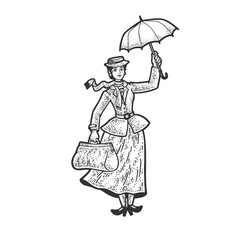 Mary Poppins cartoon tale fictional character sketch engraving vector illustration. T-shirt apparel print design. Scratch board imitation. Black and white hand drawn image.