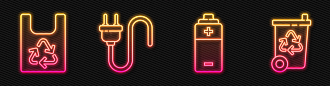 Set line Battery, Plastic bag with recycle, Electric plug and Recycle bin with recycle. Glowing neon icon. Vector.