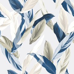 Foliage seamless pattern, heliconia Ctenanthe oppenheimiana plant in blue and brown tones on bright grey