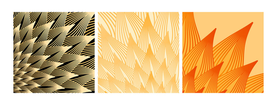 abstract lines leaves sequence orange