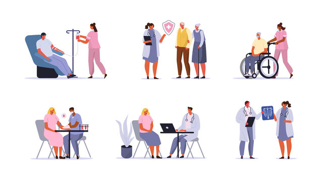 Doctors and Patients Characters set. Man donating Blood, Nurse caring for Elderly Person, Doctor Consulting Woman and other Scenes in Hospital. Health Care Concepts. Flat Cartoon Vector Illustration.