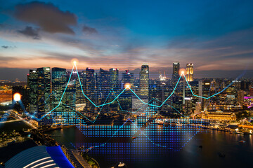 Market behavior graph hologram, sunset panoramic city view of Singapore, popular location to achieve financial degree in Asia. The concept of financial data analysis. Double exposure. Wall mural