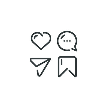 Social media icon. like, comment, share, save, mobile phone chat message, business concept, thin line web symbol on white background - vector illustration eps 10