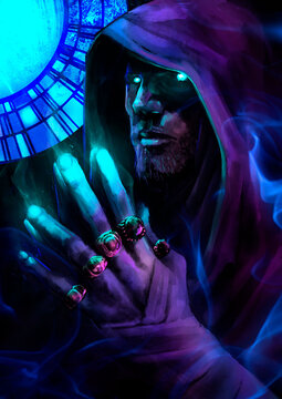 A magician man with bright turquoise eyes folded his hands finger to finger, from which magic flows, he looks directly at the viewer. 2D illustration