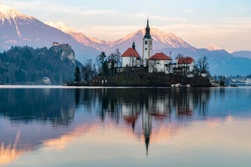 Bled lake panorama at sunset in winter