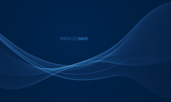 Wave of flowing particles over dark modern relaxing illustration. Round shining dots vector abstract background. Beautiful wave shaped array of blended points.