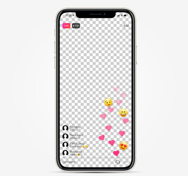 Template live streaming on iphone screen. Instagram streaming interface. iphone screen social media live video. Realistic vector illustration EPS10