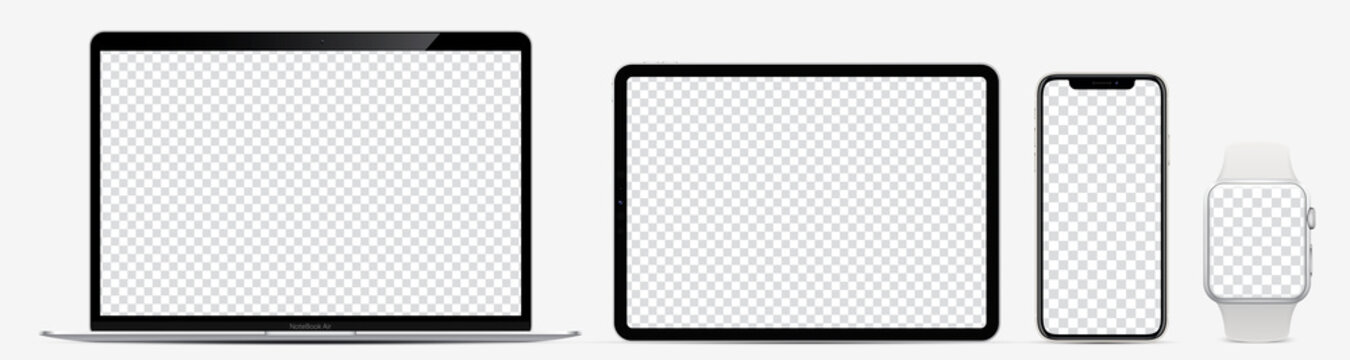 Device screen mockup. Laptop, tablet, smartphone and watch with blank screen for you design. Realistic vector illustration EPS10