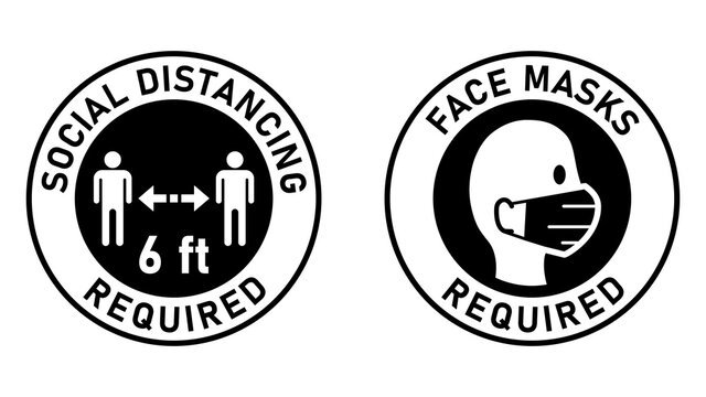 Social Distancing Required Keep Your Distance 6ft or 6 Feet and Face Masks Required Round Adhesive Sticker or Badge Instruction Icons against the Spread of Coronavirus Covid-19. Vector Image.