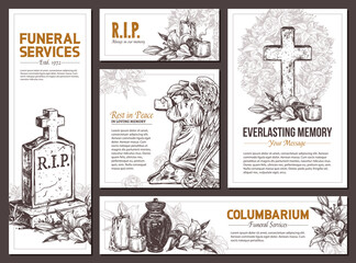 Funeral service vector hand drawn design banners. Sketch illustration for condolence card and advertising of columbarium and cemetry with urn for ashes, vintage tombstone angel, wreath, cross Wall mural