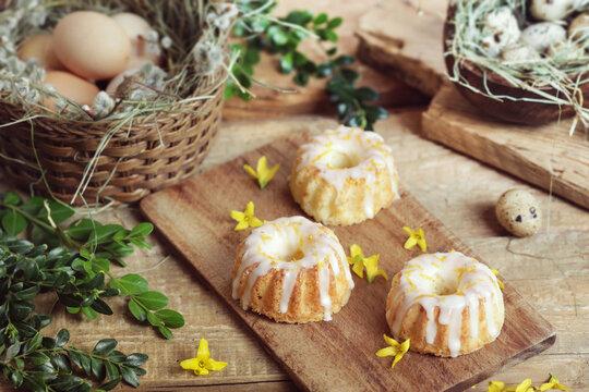 Rustic easter mini bundt cakes