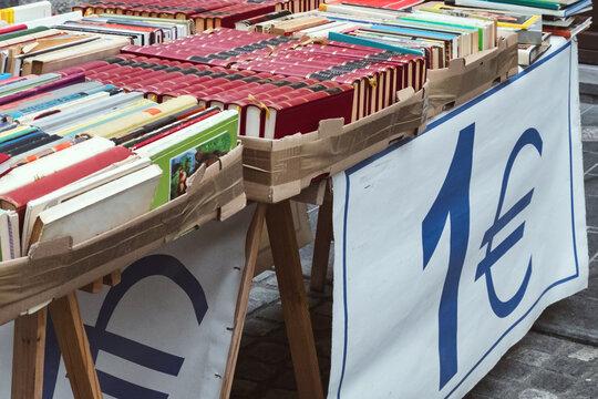 Cheap book sale on the street flea market in Ljubljana, Slovenia