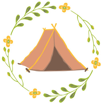 vintage camping tent decorated with floral wreath vector illustration