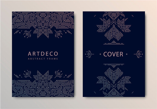 Vector set of wedding card templates, geometric artdeco covers. Metal collection of art deco style for wedding invitation, luxury cards, decorative patterns