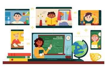 Online education. Teacher with junior school students using video conference service for e-learning, distant education from home. Vector illustration.