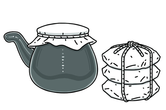 Traditional boiling pot for herbal medicine and herbal medicine potions. Vector line art illustrations set.