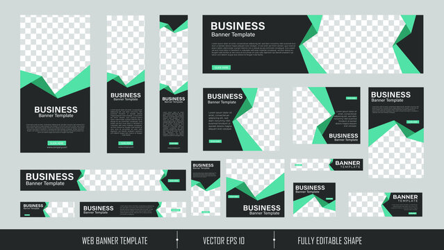 set of creative web banners of standard size with a place for photos. Vertical, horizontal and square template. vector illustration EPS 10