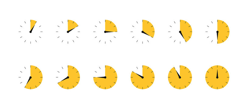 Timers set. Countdown time. Vector icons.