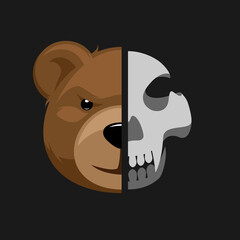 Door stickers Wall Decor With Your Own Photos Cartoon toy bear head with skull