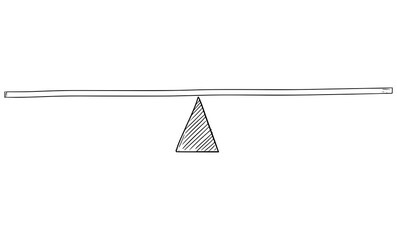 Rough Doodle Vector cartoon drawing of simple balance scales, ready to add your content and use on blogs or presentations.