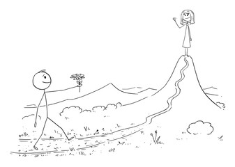 Vector cartoon stick figure drawing conceptual illustration of man in love walking with flower to meet his woman or girl waiting on the mountain or hill. Valentine, date and romance.