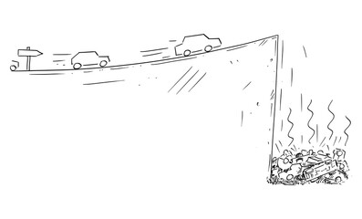 Vector cartoon drawing conceptual illustration of cars moving fast following the road sign but falling down off cliff. Concept of dead end technology, ecology, planning, strategy or obstacles in way.