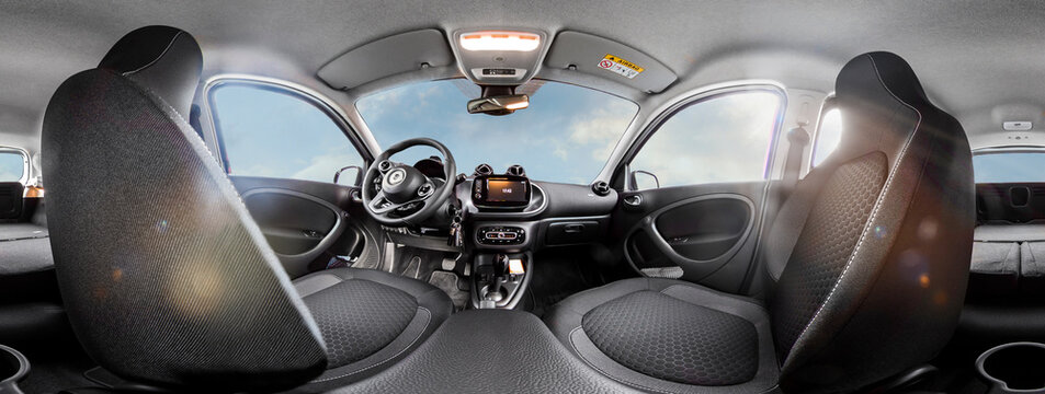 Brilon, North Rhine Westphalia/Germany - September 27th 2020: illustrative editorial car type Smart eQ four four interior view as 360 degree panorama. The back seats are folded down