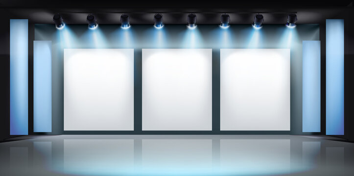 Show in art gallery. Free space for product display or advertising. Large projection screens on the stage. Vector illustration.