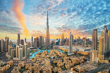Dubai downtown, amazing city center skyline with luxury skyscrapers, United Arab Emirates