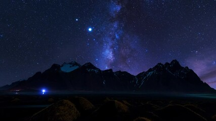 Wall Mural - Time lapse of Milky Way Galaxy at Vestrahorn mountains in Iceland.