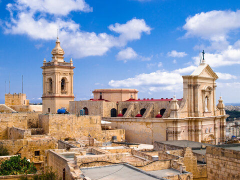 View of the cathedral in Rabat, Gozo