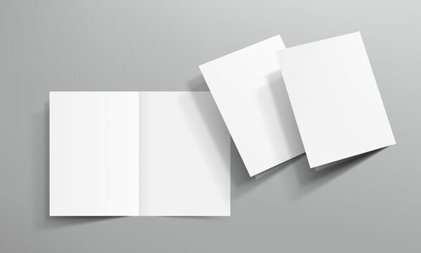 3D Open Blank Clear Square Book On Gray Background
