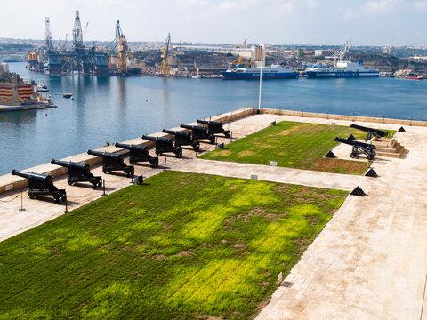 Battery and the Grand Harbor of Valletta, Malta