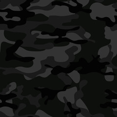 Black camouflage seamless vector pattern stylish street background for printing