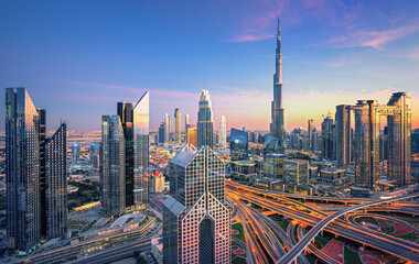 Dubai city center skyline with luxury skyscrapers, United Arab Emirates