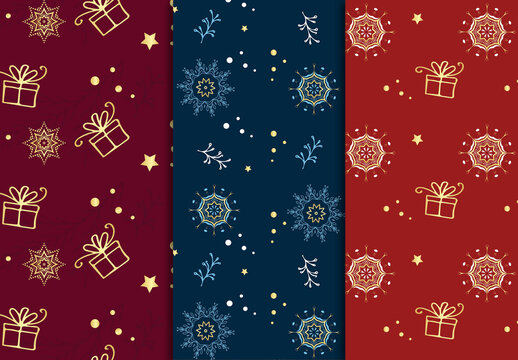 Christmas Patterns Set with Hand Drawn Elements
