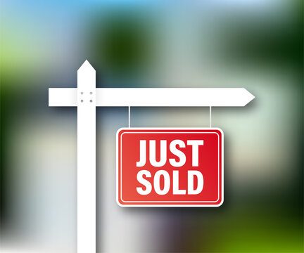 Sale tag. Just sold sign for marketing design. Vector stock illustration.