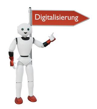 """3d Roboter zeigt auf einem Wegweiser auf dem in Deutsch """"Digitalisierung"""" steht"""