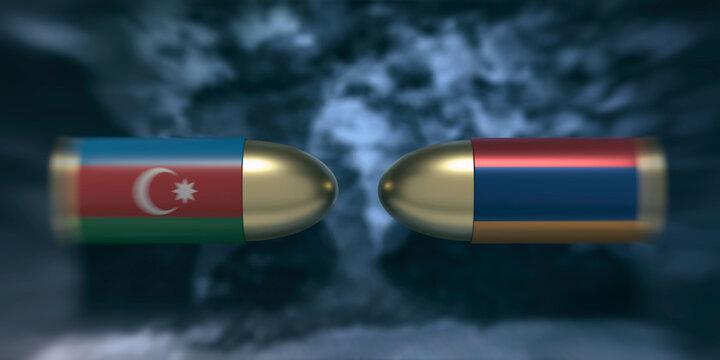 Armenian and Azerbaijan flag bullets against dark sky background. 3d illustration