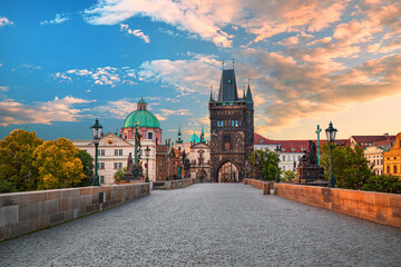 Prague - amazing view on old town, Charles bridge and Vltava river, Czech Republic