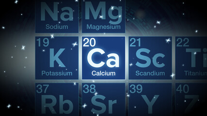Close up of the Calcium symbol in the periodic table, tech space environment.