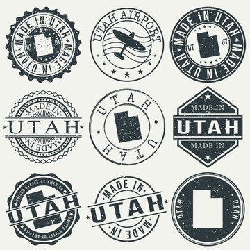 Utah Set of Stamps. Travel Stamp. Made In Product. Design Seals Old Style Insignia.