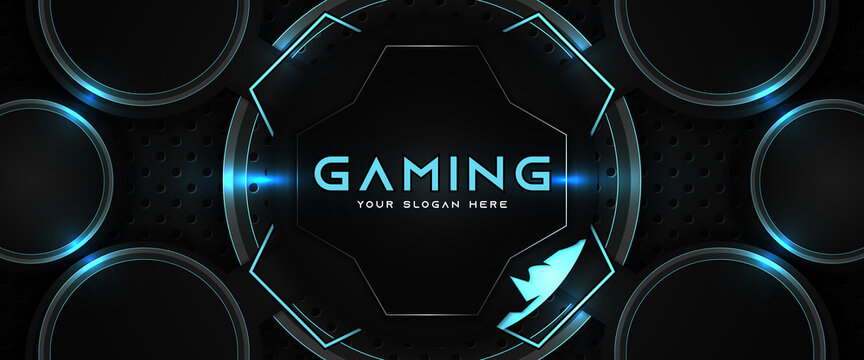 Futuristic blue and black abstract gaming banner design template with metal technology concept. Vector graphic for business corporate promotion, game header social media, live streaming background