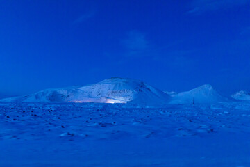 Pre-dawn mountain landscape in Iceland. Unusual light.